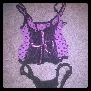 Other - Pink and black polka dot bustier w/ thong